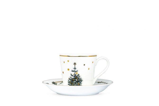 Jette Frölich Wintersterne Weihnachtstasse mit Untertasse und Goldrand. Weiß, Gold und Grün. Porzellan - fine bone china. Weihnachtstassen, Weihnachtsbecher und skandinavisches Weihnachtsgeschirr bei nicenordic.de