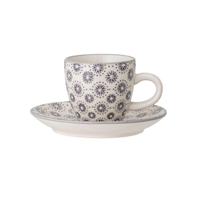 Bloomingville Elsa Espressotasse mit Untertasse und Henkel. Farbe Grau. Material Steingut Keramik. Skandinavisches Geschirr bei nicenordic.de
