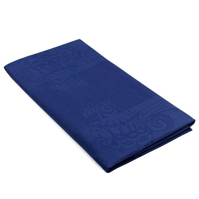 Bjørn Wiinblad Damast Tischdecke Vögel blau 150x250 cm