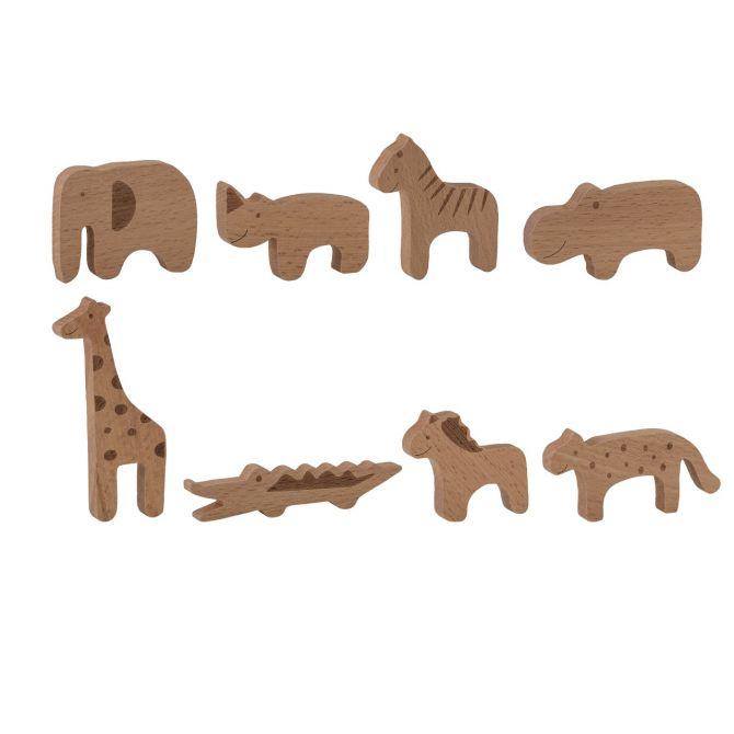 Bloomingville Holztiere Spieltier-Set Zoo 8 Stck Buche Natur. Kinder- und Babyspielzeug im skandinavischem Design bei nicenordic.de