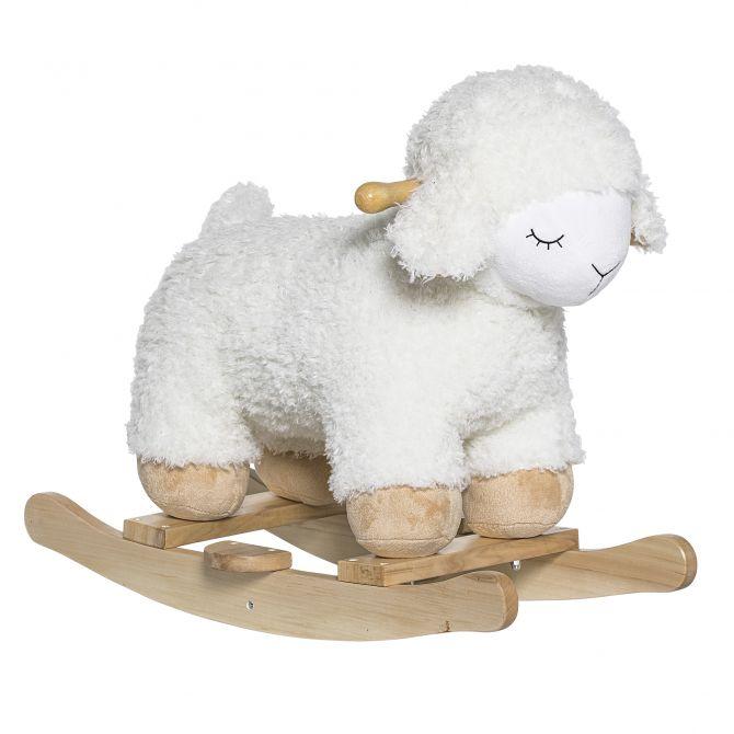 Bloomingville Schaukelpferd Schäfchen Weiß. Schaukeltier aus Pappelholz und Plüsch. Kinder- und Baby-Spielzeug bei nicenordic.de