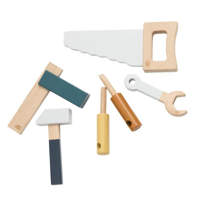 Sebra Werkzeug-Set Holz 6-tlg Holzspielzeug. Grau und Bunt. Kinderwerkzeug, Spielwerkzeug. Baby- und Kinderspielzeug sowie Babyausstattung bei nicenordic.de