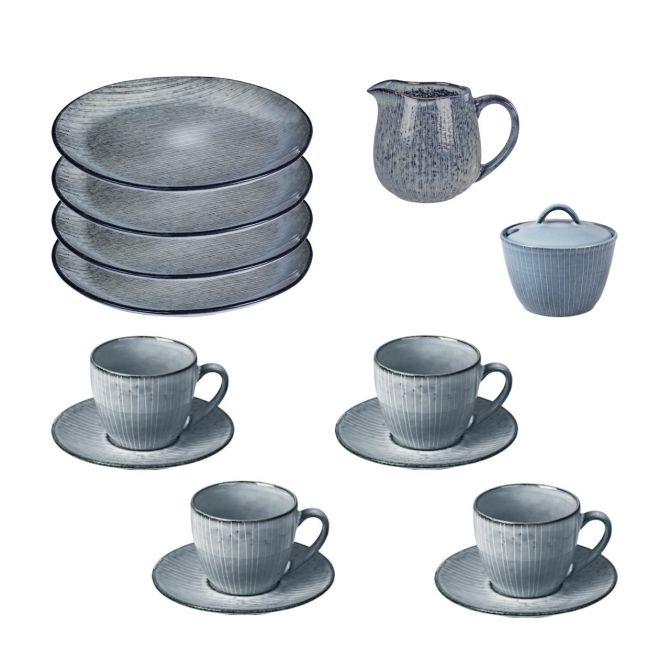 Broste Copenhagen Nordic Sea Geschirr-Set Kaffee-Service 4 Personen 10-teilig. 4 Tassen mit Untertassen, 4 Kuchenteller, Milchkännchen, Zuckerschale. Skandinavisches Geschirr bei nicenordic.de