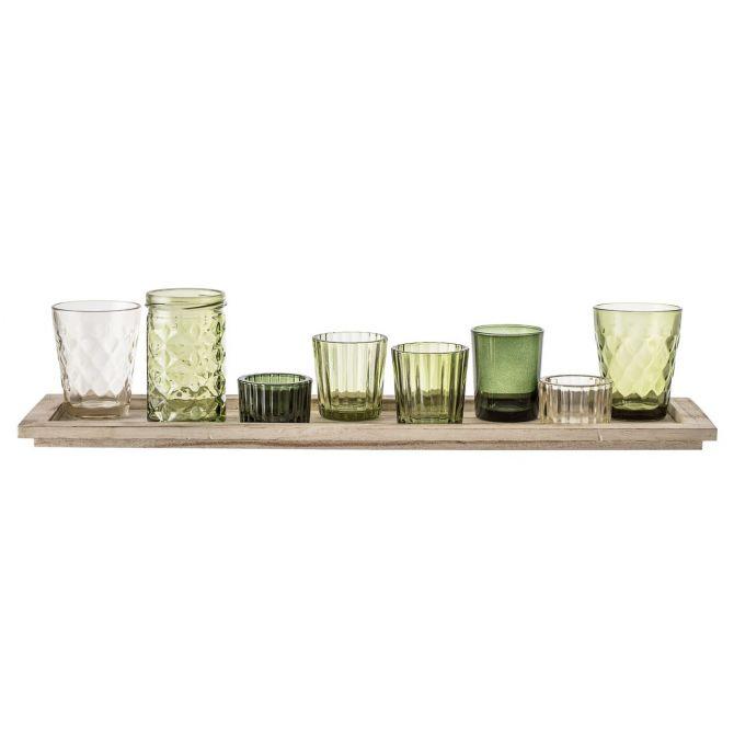 Bloomingville Teelichthalter-Set mit Tablett 9-teilig Grün