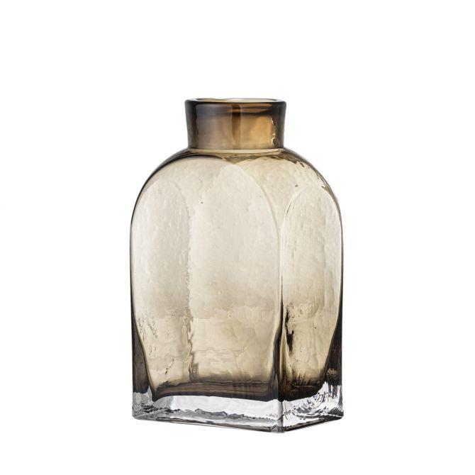 Bloomingville Vase Denver Glas Braun 18cm. Rechteckige Blumenvase aus Glas. Skandinavische Glasvasen und Deko bei nicenordic.de
