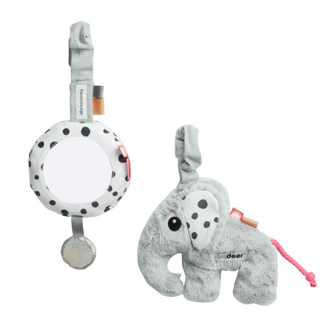 Done by Deer To Go Activity Set Elphee grau. Spielzeug-Anhänger für Kinderwagen, Buggy und Babysitz. Babyspielzeug bei nicenordic.