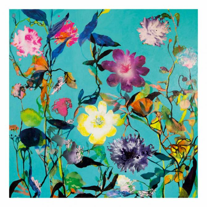 Cristine Crebas The Inner Scent I 70 x 70 cm. Türkis, blau, bunt, floral. Art-Print of painting with floral motif. Skandinavische Kunstrucke und dänische Poster mit Blumen-Motiven bei nicenordic.de