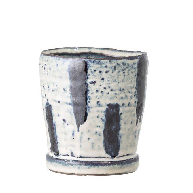 Bloomingville Blumentopf blau-weiss Keramik klein 95mm. Kleiner Übertopf. Handgemacht aus Steingut, Kunsthandwerk. Wohnaccessoires und Deko bei nicenordic.de