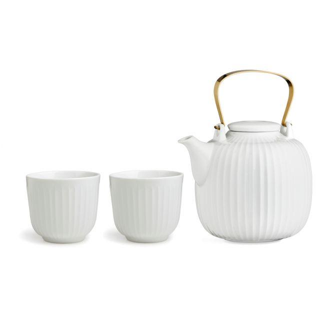 Kähler Hammershöi Geschirr-Set Tee-Zeit_3-tlg weiß Porzellan. Tee-Service mit Teekanne und doppelwandige Thermobecher. Tee-Geschirr bei nicenordic.de