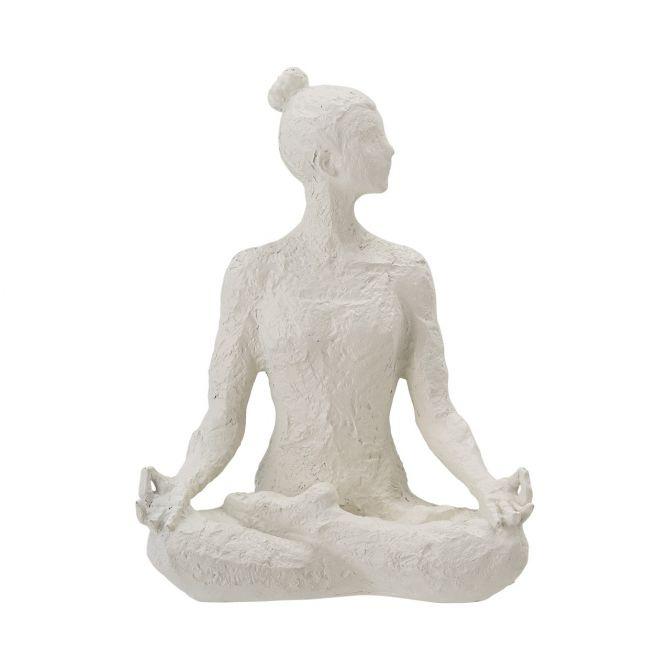 Bloomingville Dekofigur Adalina Lotussitz. Deko-Objekt, Deko-Skulptur in Weiß. Frau beim Yoga bzw am Meditieren. Skandinavische Deko und Wohnaccessoires bei nicenordic.de