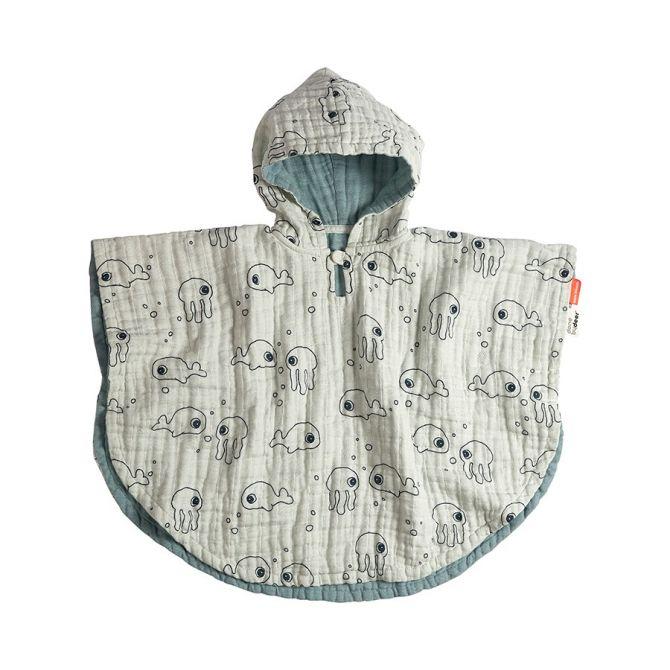 Done by Deer Sea Friends Kinder-Badeponcho Blau. Oeko-Tex®-Baumwolle, Musselin. Badesachen und Babyausstattung bei nicenordic.de