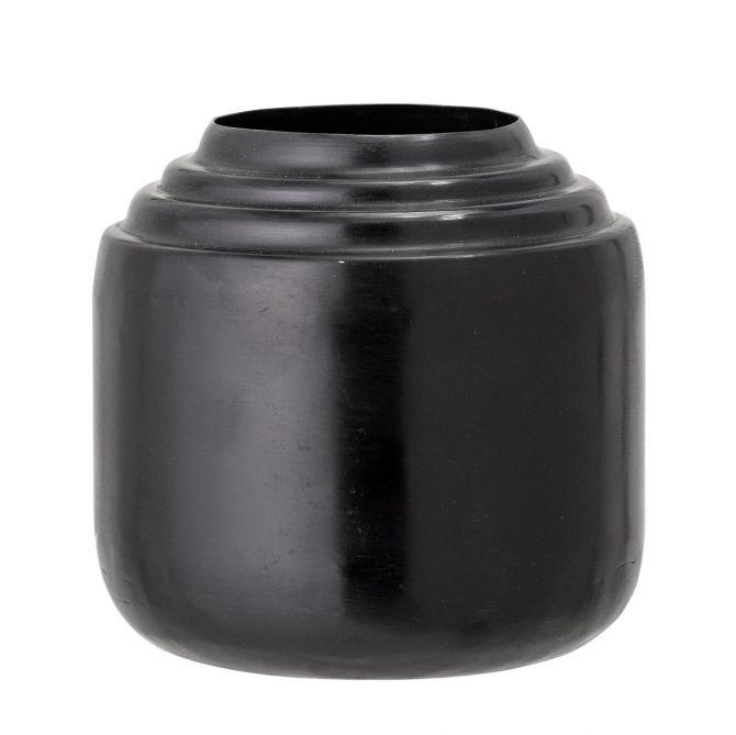 Bloomingville Vase Mari Schwarz Metall H12cm Ø12,5cm. Kleine moderne Vase aus Eisen in zylindrischer Form. Skandinavisches Design, Deko und Wohnaccessoires bei nicenordic.de