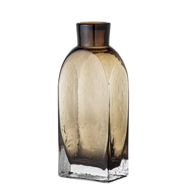 Bloomingville Vase Denver Glas Braun 27cm. Rechteckige Blumenvase aus Glas. Skandinavische Glasvasen und Deko bei nicenordic.de