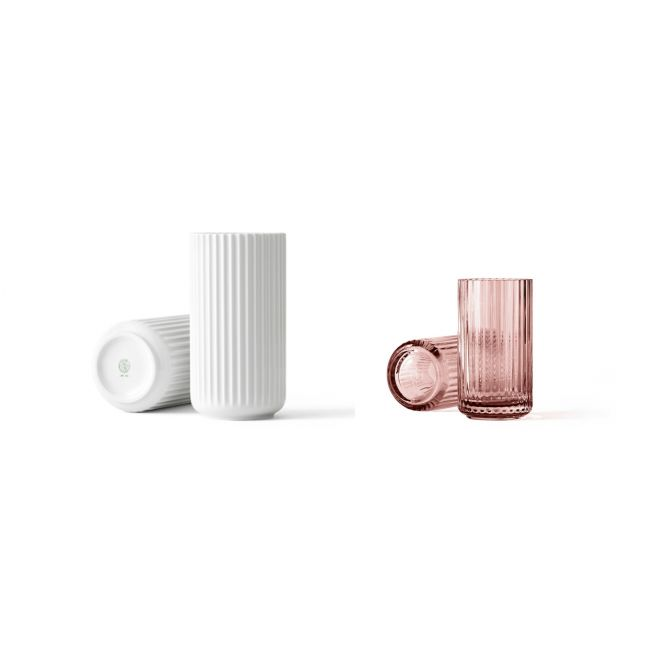 Lyngby Porcelæn Lyngby-Vase Set-Angebot: je 1 Stck Porzellan 20 cm weiß und Glas 15 cm Burgund. Designklassiker aus Skandinavien bei nicenordic.de