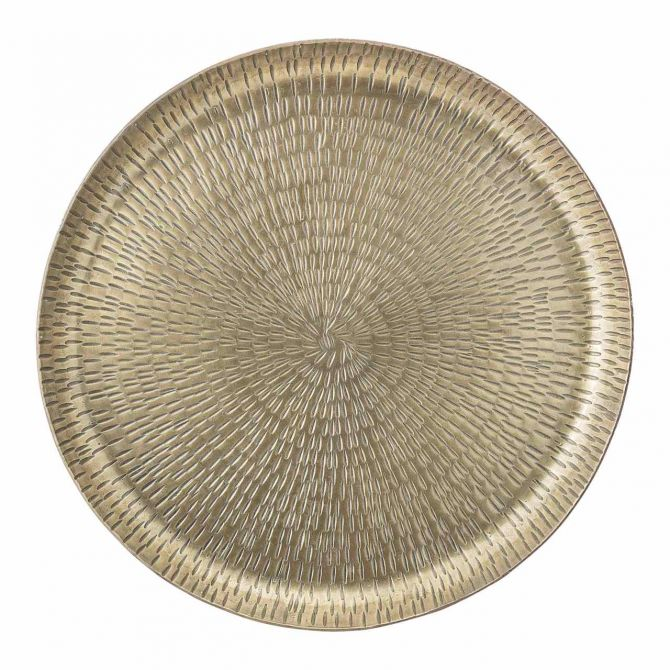 Bloomingville Deko-Tablett Messing 32 cm rund. Orientalisch und minimalistisch. Aus Metall, Aluminium, in Messing-Farben. Skandinavische Deko bei nicenordic.de
