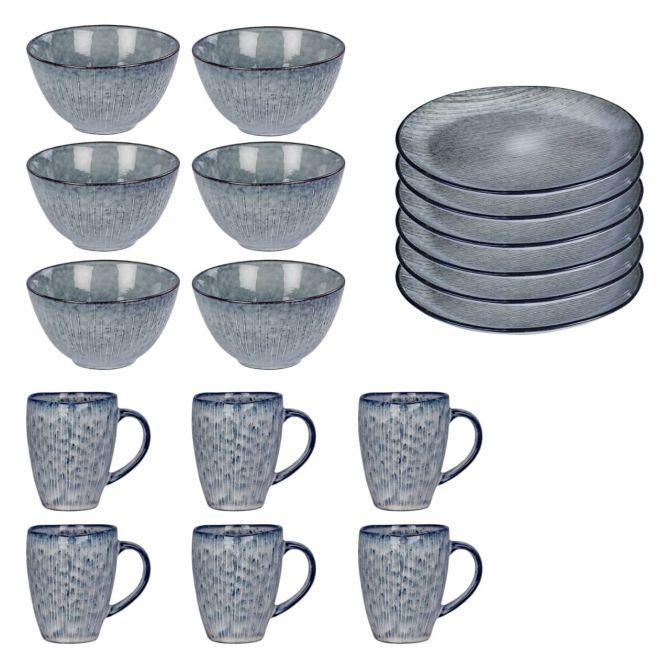Broste Copenhagen Nordic Sea Frühstücksset für 6 Personen 18-telig. Geschirr aus Keramik Steingut in blau-grau. 6 Tassen bzw Becher, 6 Frühstücksteller, 6 Müslischüssel. Teller, Schüssel und Geschirrsets im skandinavischen Design bei nicenordic.de