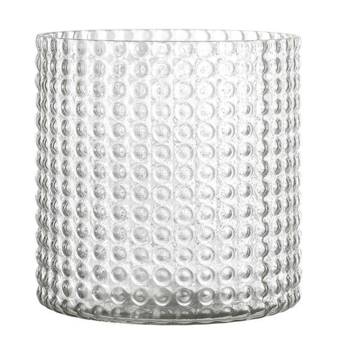 Bloomingville Vase Glas Klar Blasen-Relief 16,5 cm_nicenordic