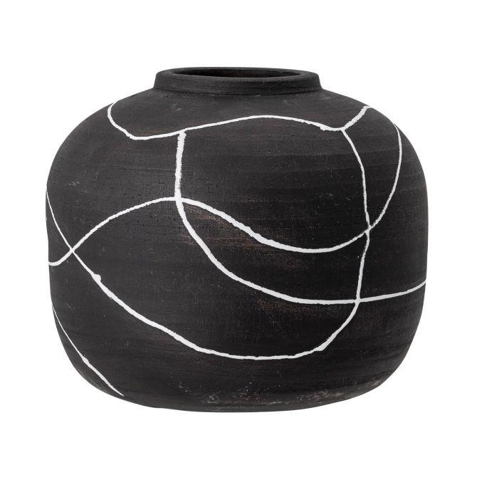 Bloomingville Vase Niza Schwarz-Weiss Terrakotta. Moderne Vase im skandinavischem Design. Deko und Wohnaccessoires bei nicenordic.de