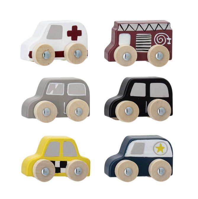 Bloomingville Kinder-Spielzeugautos 6er-Set. Holzspielzeug-Set mit Krankenwagen, Feuerwehr-Auto, Polizei und Taxi. Aus Holz und MDF. Skandinavisches Kinder- und Baby-Spielzeug bei nicenordic.de