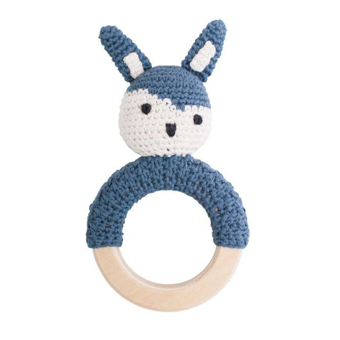 Sebra Häkel-Rassel Kaninchen auf Holzring Königsblau