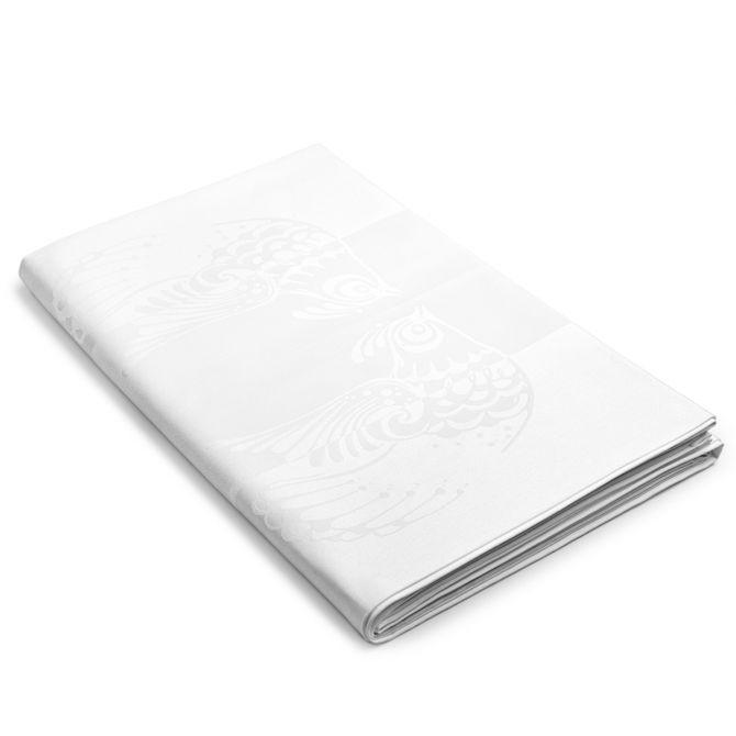 Bjørn Wiinblad Damast Tischdecke Vögel weiß 150x350 cm