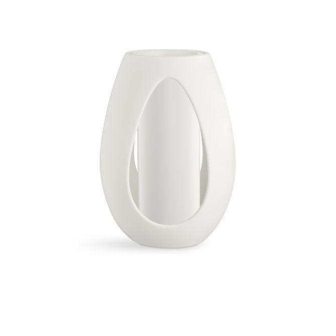 Kähler Kokong Vase mit Zylinder Weiss 33 cm Keramik, Irdengut. Glänzend und matt. Vase und Kerzenhalter in Einem. Skandinavische Vasen und Wohnaccessoires bei nicenordic.de