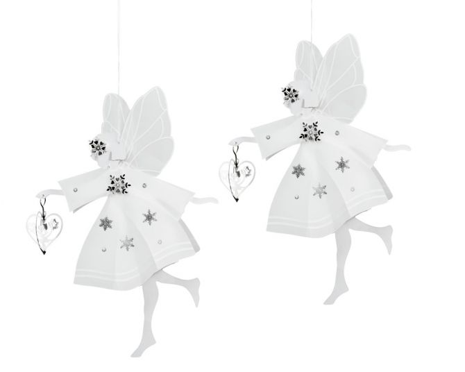 Jette Frölich Weiße Feen mit Herz - klein 2er-Set. Weihnachtsdeko für Weihnachtsbaum, Tisch und als Fensterdeko. Weihnachtsschmuck bei nicenordic.de