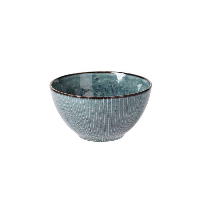 Broste Copenhagen Nordic Sea Schale Schüssel 17 x H8 cm blau grau, gestreift. Keramik - Steingut. Kleine Servierschale, Suppenschale, Keramikgeschirr, Frühstücksgeschirr. Skandinavisches Geschirr für den gedeckten Tisch bei nicenordic.de