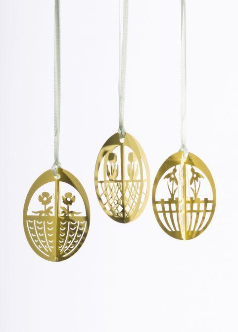 Jette Frölich Ostereier Blumen 3D Gold-Gelb 3er-Set_nicenordic