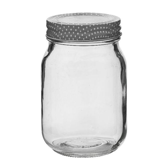 Bloomingville Vorratsglas Aufbewahrungsglas mit weiß gepunktetem grauen Deckel 500ml