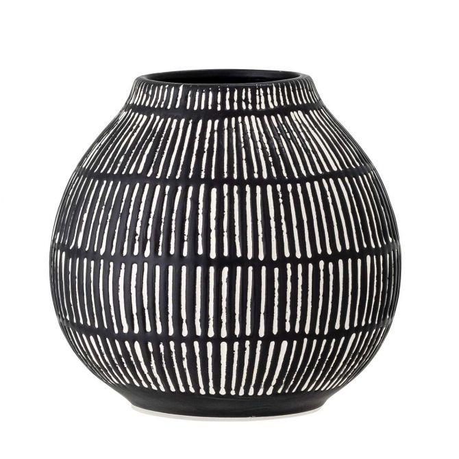 Bloomingville Vase Elveda Schwarz-Weiss aus Steingut Keramik. Moderne Vase im skandinavischem Design. Deko und Wohnaccessoires bei nicenordic.de