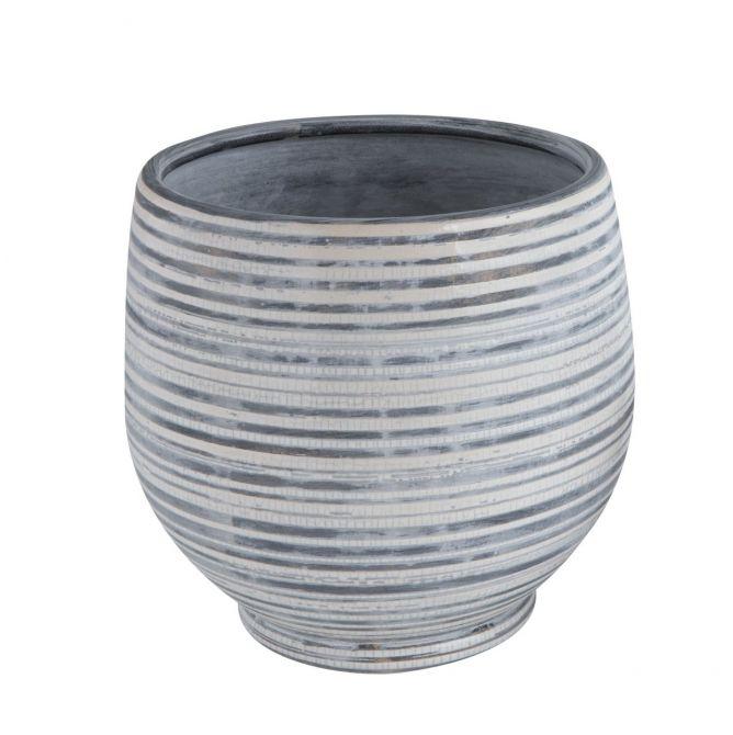 Bloomingville Blumentopf Grau gestreift Terrakotta 20cm. Keramik Übertopf. Wohnaccessoires und Deko bei nicenordic.de