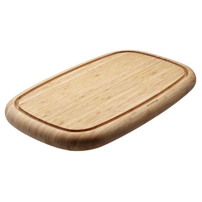 Scanpan Hackblock 50 x 30 x 4 cm. Schneidebrett mit Saftrille. Tranchierbrett bzw. Hackbrett aus Bambus, geölt. Servierbrett. Küchenzubehör und Küchenutensilien bei nicenordic.de