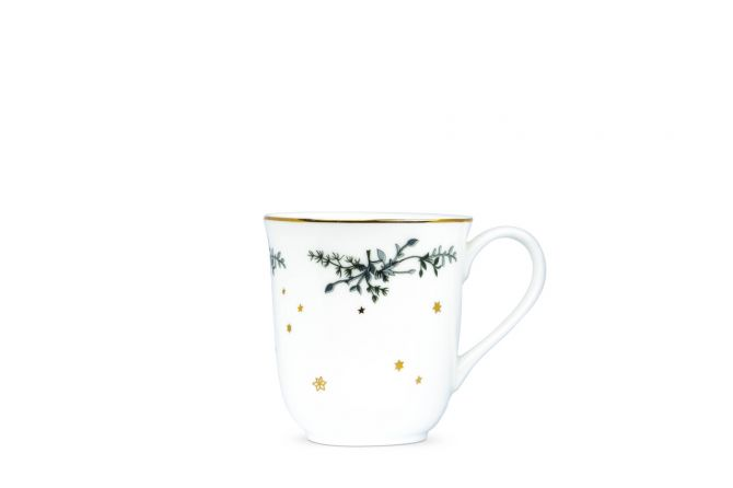 Jette Frölich Wintersterne Weihnachtsbecher 2er-Set mit Goldrand. Weiß, Gold und Grün. Porzellan - fine bone china. Weihnachtstassen und skandinavisches Weihnachtsgeschirr bei nicenordic.de