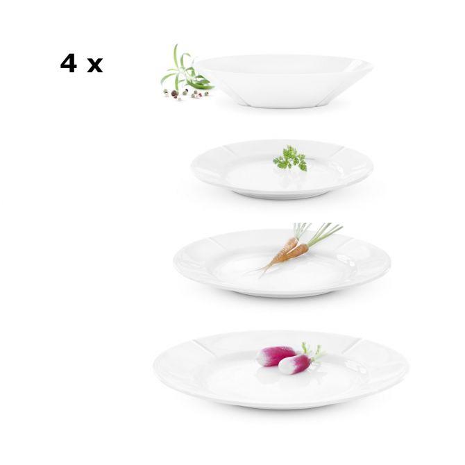 Rosendahl Grand Cru Geschirrset 16-tlg 4 Pers weiß. Porzellan. Geschirr-Set mit Speiseteller, Vorspeisenteller bzw. Frühstücksteller, Dessertteller und tiefe Teller. Speiseservice-Set. Skandinavisches Design bei nicenordic.de