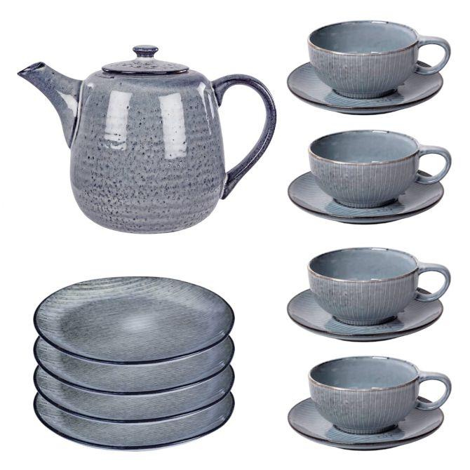 Broste Copenhagen Nordic Sea Geschirrset Teeservice 9-tlg blau grau. 4 Personen. Geschirr-Set aus Keramik-Steingut mit Teekanne 130cl, 4 Teetassen mit Untertassen und 4 Kuchen-Teller 20 cm. Skandinavisches Geschirr bei nicenordic.de