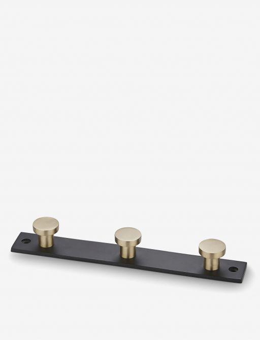 H Skjalm P Hakenleiste Schwarz Messing Metall mit 3 runden Haken. Garderobenleiste 22cm für Diele, Küche und Schlafzimmer. Garderoben bei nicenordic.de