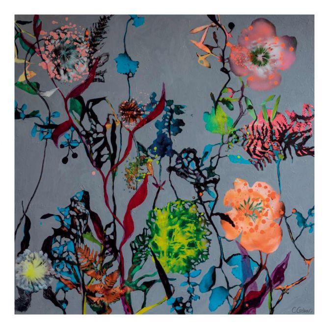Cristine Crebas Urban Garden II 70 x 70 cm. Grau, bunt, floral. Art print with floral motif. Skandinavische Kunstrucke und dänische Poster mit Blumen-Motiven bei nicenordic.de