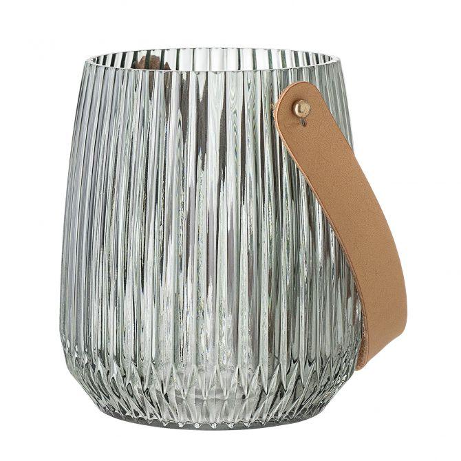 Bloomingville Windlicht mit Henkel Glas Grün