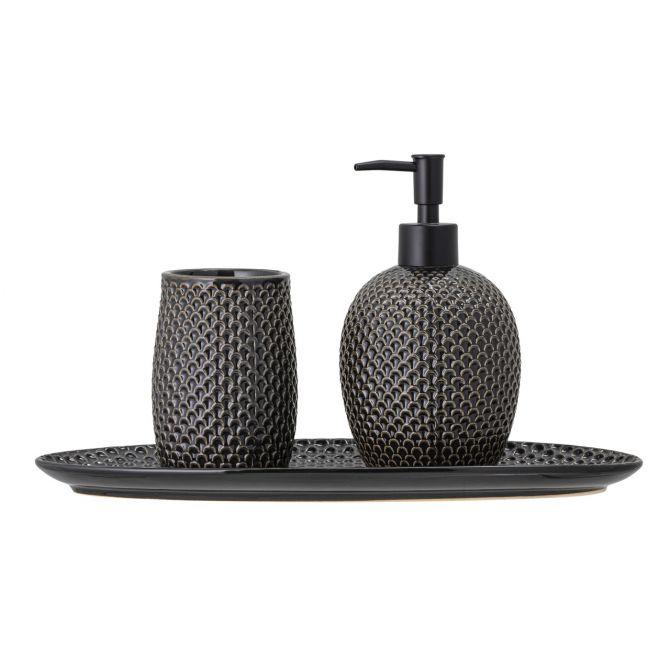 Bloomingville Seifenspender Set mit Zahnputzbecher und Tablett. Farbe schwarz-grau. Steingut. Badezimmer-Deko und Bad-Accessoires bei nicenordic