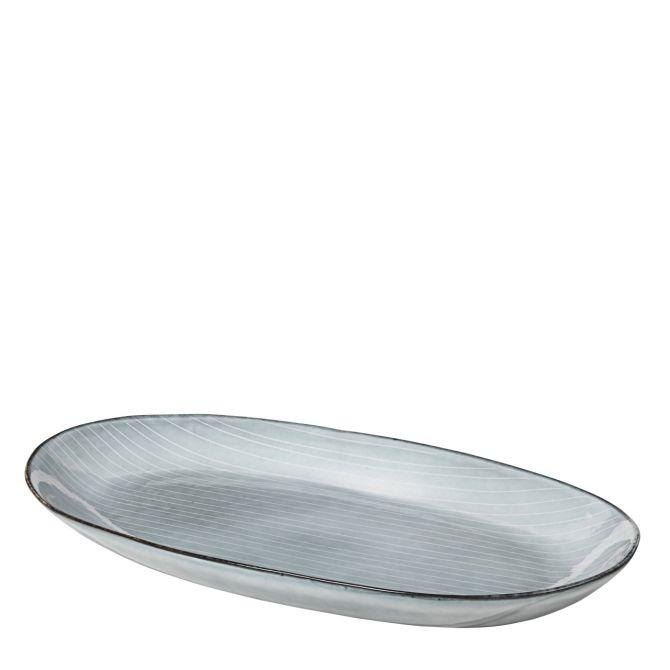 Broste Copenhagen Nordic Sea Servierteller Servierplatte Speiseteller Essteller Fischteller 30 cm blau grau. Keramik - Steingut. Speiseservice. Skandinavisches Geschirr für den gedeckten Tisch bei nicenordic.de