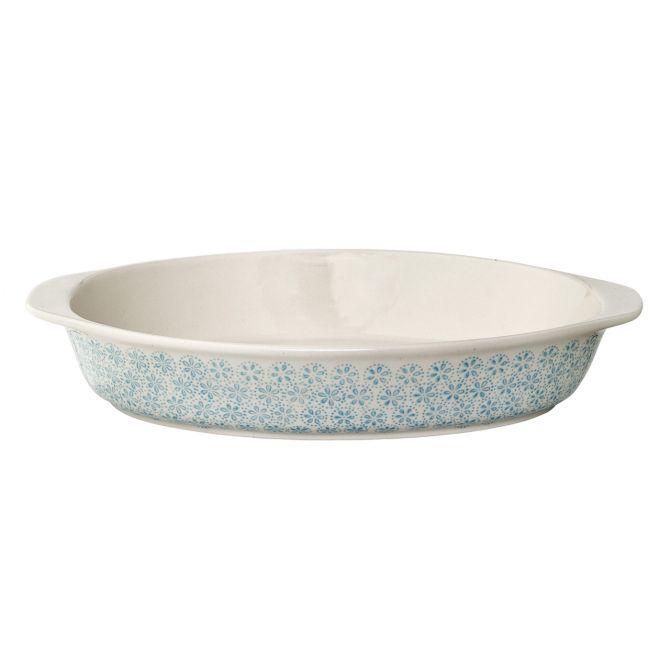 Bloomingville Patrizia Auflaufform Servierplatte aus Keramik, Steingut. Blau gemustert. Serviergeschirr und skandinavisches Geschirr bei nicenordic.de