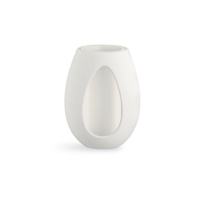Kähler Kokong Vase mit Zylinder Weiss 22 cm Keramik, Irdengut. Glänzend und matt. Vase und Kerzenhalter in Einem. Skandinavische Vasen und Wohnaccessoires bei nicenordic.de
