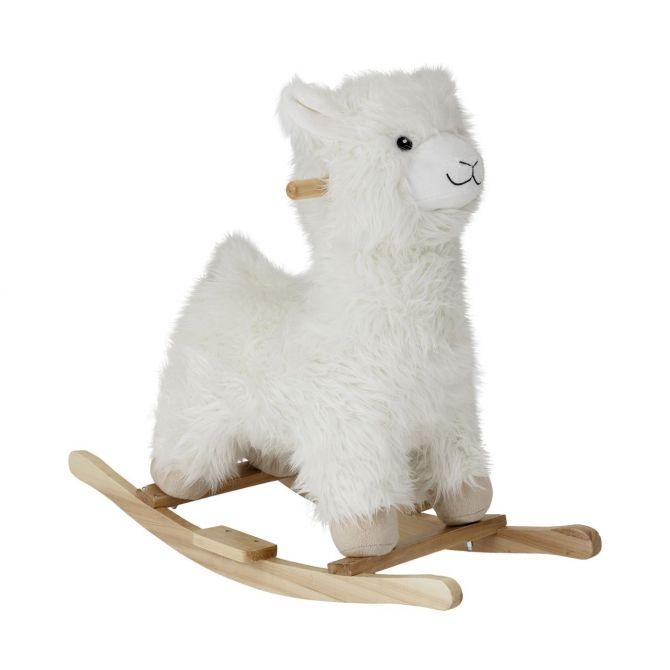 Bloomingville Schaukelpferd Lama Weiß. Schaukeltier aus Pappelholz und Plüsch. Kinder- und Baby-Spielzeug bei nicenordic.de