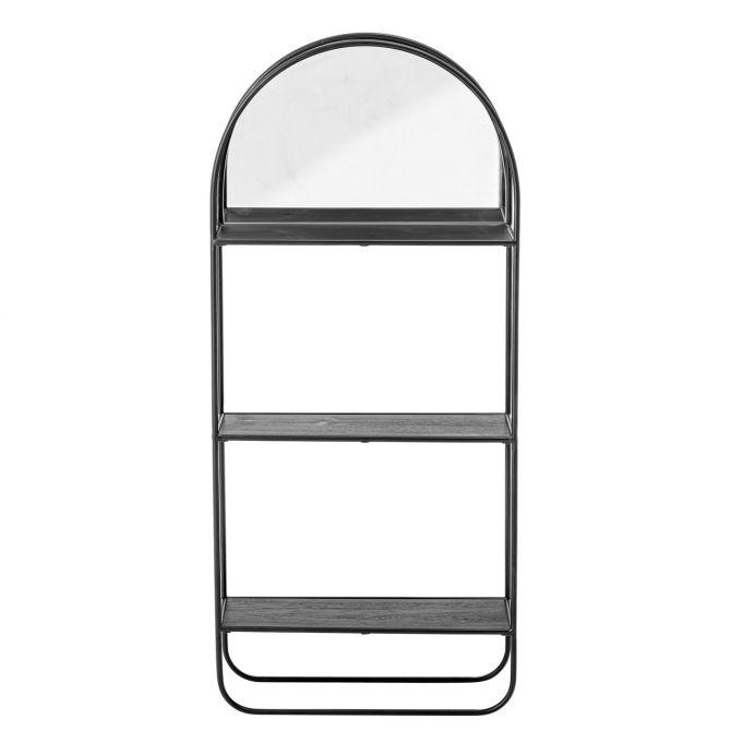 Bloomingville Wandregal mit Spiegel Schwarz Metall Höhe 90 cm. Stahl-Regal Wandmontage. Für Bad, Diele und Wohnzimmer. Wohnaccessoires, Wanddeko & Kleinmöbel bei nicenordic.de