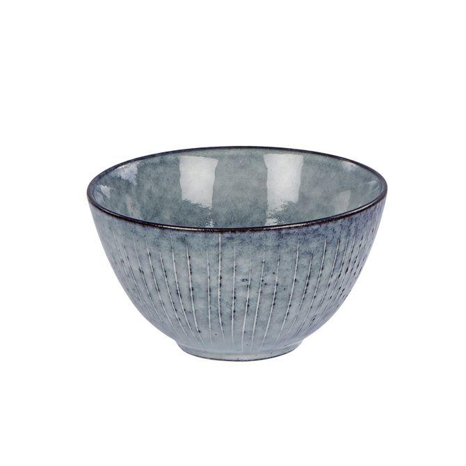 Broste Nordic Sea Schale Müslischale 15 cm blau grau. gestreift. Keramik - Steingut. Servier-Schälchen, Frühstücksgeschirr. Skandinavisches Geschirr für den gedeckten Tisch bei nicenordic.de
