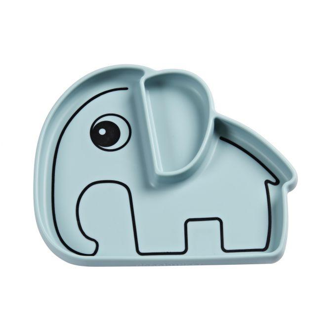 Done by Deer Teller Elefant Elphee Stick & Stay Silikon Blau. Kinderteller mit Saugnapf und Fächer-Einteilung. Kindergeschirr und Babyausstattung bei nicenordic.de
