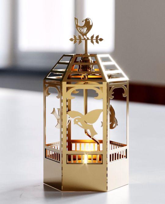 Jette Frölich Design Pavillon Teelicht-Karussell Teelichthalter Mobile, Kerzenmobile Weihnachten, Gold mit Vögel. Skandinavischer Weihnachtsschmuck & Weihnachtsdeko bei nicenordic.de