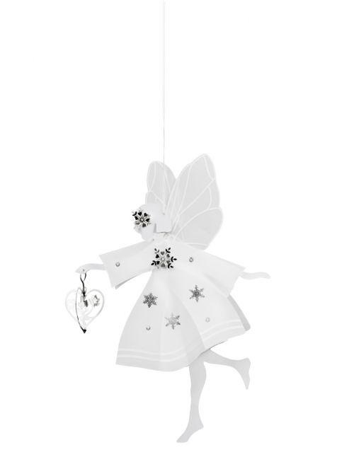 Jette Frölich Weiße Fee mit Herz medium. Weihnachtsdeko für Weihnachtsbaum, Tisch und als Fensterdeko. Weihnachtsschmuck bei nicenordic.de